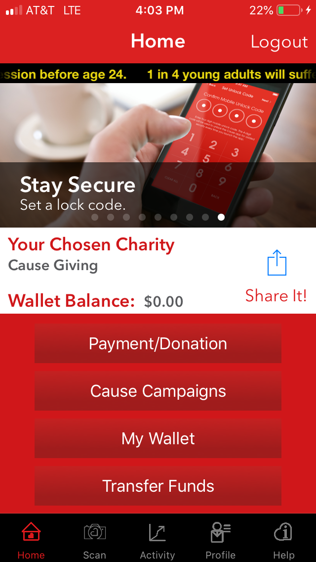 Cause Mobile Wallet Screen